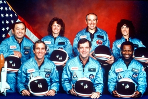The crew of the space shuttle Challenger. From left: Ellison Onizuka, Mike Smith, Christa McAuliffe, Dick Scobee, Greg Jarvis, Ron McNair and Judith Resnik. (NASA/1986)